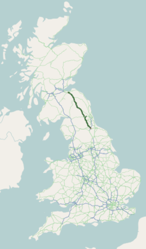 A68 road - Image: A68 road map