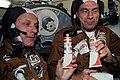AST-03-175 - Apollo Soyuz Test Project - Apollo Soyuz Test Project, Stafford and Slayton with Soyuz Food Tubes - NARA - 16627323.jpg