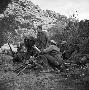 36th Infantry Brigade (United Kingdom) - A 3-inch mortar crew of the 6th Battalion, Queen's Own Royal West Kent Regiment in action in Tunisia, 31 January 1943.