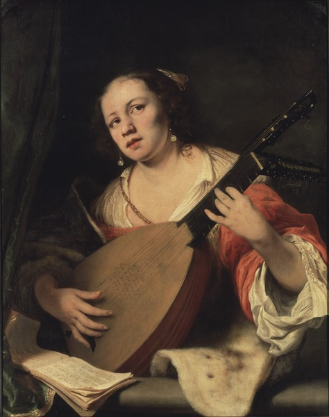 A Lady Playing the Lute (Ferdinand Bol)