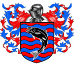 A coat of arms showing a black fish on field of rippling red and blue