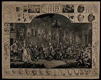 Country dance - A comical 18th-century country dance - engraving by Hogarth