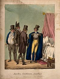 A group of fashionable physicians gathered around a sick pat Wellcome V0011721.jpg