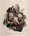 A group of five heads; three men smoking pipes and a cigar a Wellcome V0019115.jpg