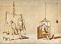 A man being weighed on a huge set of scales, and a man with Wellcome V0025585.jpg