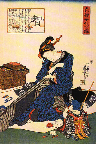 Sewing - Seated woman sewing a kimono, Utagawa Kuniyoshi, early 19th century. Different cultures have developed diverse sewing techniques, from methods of cutting fabric to types of stitches.