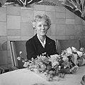 Aankomst Petula Clark op Schiphol, Petula Clark tijdens de persconferentie, Bestanddeelnr 911-1043.jpg