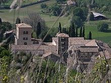 Abbazia di Farfa (Rieti, Italy) outlook from monte Acuziano