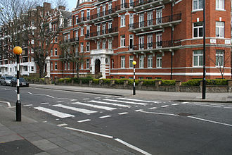 Zebra crossing - A zebra crossing with Belisha beacons in Abbey Road, London. This same crossing was featured on the cover of the album Abbey Road by The Beatles