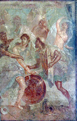 Achilles on Skyros - Fresco from the House of the Dioscuri in Pompei depicting Achilles between Diomedes and Odysseus at Scyros
