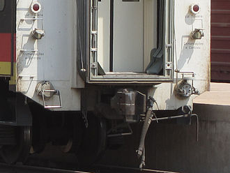 Rail transport in Angola - AAR Coupler on new railway cars Twin air brake pipes with taps.
