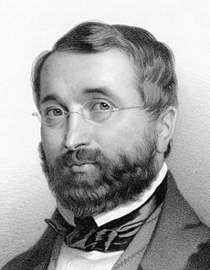 Portrait sketch of a short-bearded man with cropped hair. He is wearing glasses and formal wear.