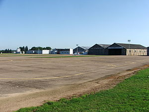 École nationale de l'aviation civile - ENAC buildings and aircraft at the Saint-Yan Airport.