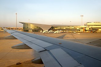 Valencia Airport - View of the airport from the wing of a Airbus A320