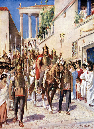 Alaric I - Illustration from the 1920s depicting Alaric parading through Athens after conquering the city in 395