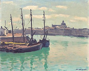 L'église des Sables-d'Olonne vue des quais du port de la Chaume