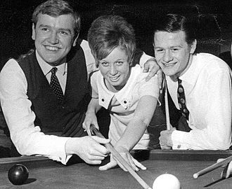 Alex Higgins -  Higgins (right) with David Taylor at an exhibition at Queen's University Belfast, 1968