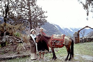 Alice S. Kandell - Image: Alice Kandell with villager and horse, Sikkim 30122v