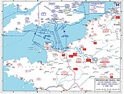 D-day assault routes into Normandy.