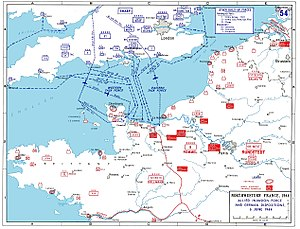 "Juno Beach - D-Day assault map of the Normandy region and the north-western coast of France. Utah and Omaha are separated by the Douve River, whose mouth is clear in the coastline notch (or ""corner"") of the map."
