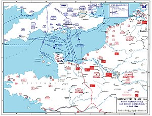 Cotentin Peninsula - D-Day assault map of Normandy and northwest coastal France