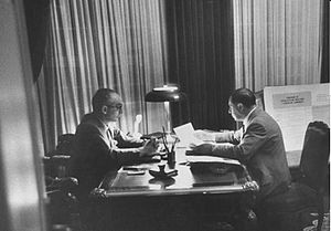 Álvaro Alsogaray - Alsogaray and President Arturo Frondizi (left), who appointed the conservative businessman under pressure from the military.