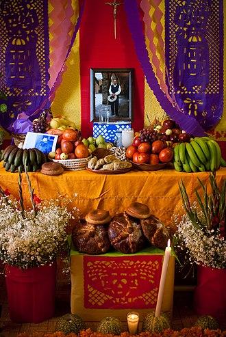 Day of the Dead - Día de Muertos altar commemorating a deceased man in Milpa Alta, México DF