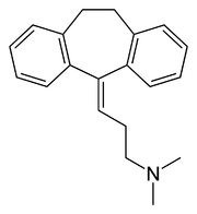 Chemical structure of the tricyclic antidepressant amitriptyline.