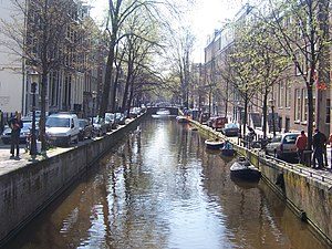 One of the many canals in Amsterdam