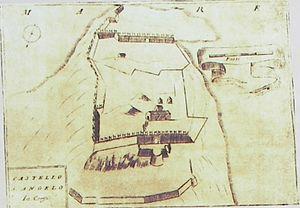 Angelokastro (Corfu) - Old map of Angelokastro with the name Castello S. Angelo