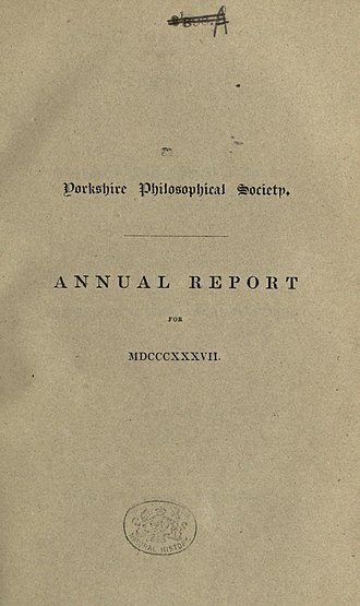 Yorkshire Philosophical Society - Title page of the 1835 Annual report of the Yorkshire Philosophical Society