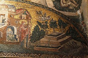 Virgin and Child with Saint Anne - Annunciation to Anne, 11th-century mosaic, Chora Church, Istanbul, with Joachim seen reclining at upper-right