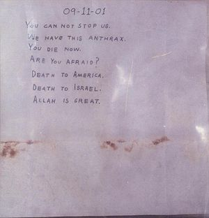 2001 anthrax attacks - The second anthrax note
