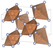 Unit cell of antimony trifluoride. The distorted-octahedral coordination of the fluorine relative to the antimony is visualized.