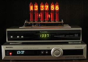 Display device - Nixie tubes, LED display and VF display, top to bottom.