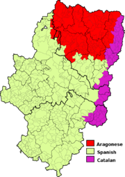 Language distribution in Aragon. Spanish is spoken in all of Aragon, and is the only official language.