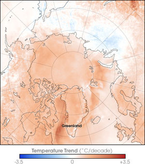 Greenland ice sheet - Arctic Temperature Trend 1981–2007