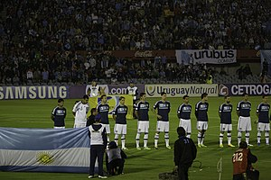 Érik Lamela - Erik Lamela (4th from right) lining up with Argentina against Uruguay.