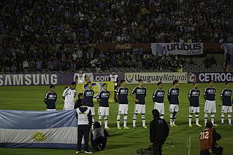 Rodrigo Palacio - Rodrigo Palacio lining up with Argentina against Uruguay.
