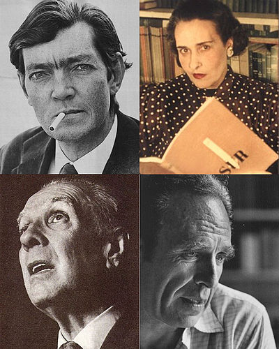Four of the most influential Argentine writers. Top-left to bottom-right: Julio Cortazar, Victoria Ocampo, Jorge Luis Borges and Adolfo Bioy Casares Argentine literature.jpg