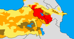 Historical and modern distribution of Armenians in the Armenian Highland.