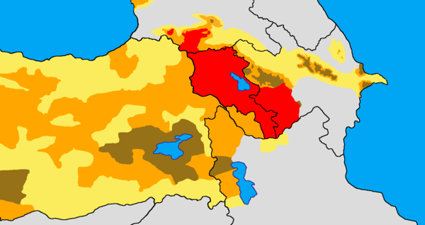 Armenian presence in the early 20th century: >50%       25-50%       <25% Armenian settlement area today. Armenian distribution map.png