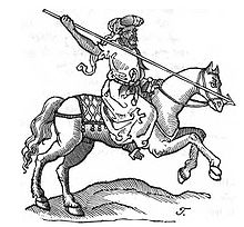 A pen and ink drawing of a mounted man wearing Arab dress and carrying a spear