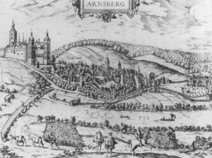 Agnes von Mansfeld-Eisleben - Arnsberg Castle, circa 1588. Agnes and Gebhardt fled to the castle when the war began.