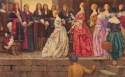 Eleanor Fortescue-Brickdale: Women coming to Quebec in 1667, in order to be married to the French Canadian farmers. Talon and Laval are waiting for the arrival of the women