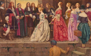 King's Daughters - Jean Talon, Bishop François de Laval and several settlers welcome the King's Daughters upon their arrival. Painting by Eleanor Fortescue-Brickdale