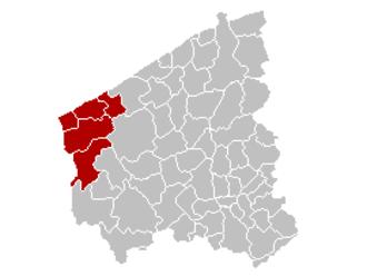 Arrondissement of Veurne - Image: Arrondissement Veurne Belgium Map