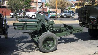 Armed Forces of Bolivia - 7.5 cm FK 18 before a parade in Cochabamba.