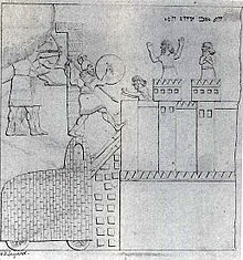 O assédio de Gezer, mostrando um possível protótipo para o Cavalo de Troia.  Reprodução de mural no Palácio do Sudoeste, Nimrud, realizada por Austen  Henry ...