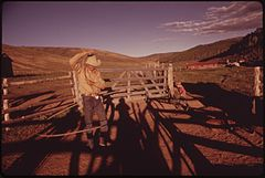 At the Oldlands' Summer Cow Camp Fifteen Miles South of Their Piceance Creek Ranch. Hired Hand Jake Milton Spends an Idle Moment Practicing Roping, 07-1973 (3815026635).jpg